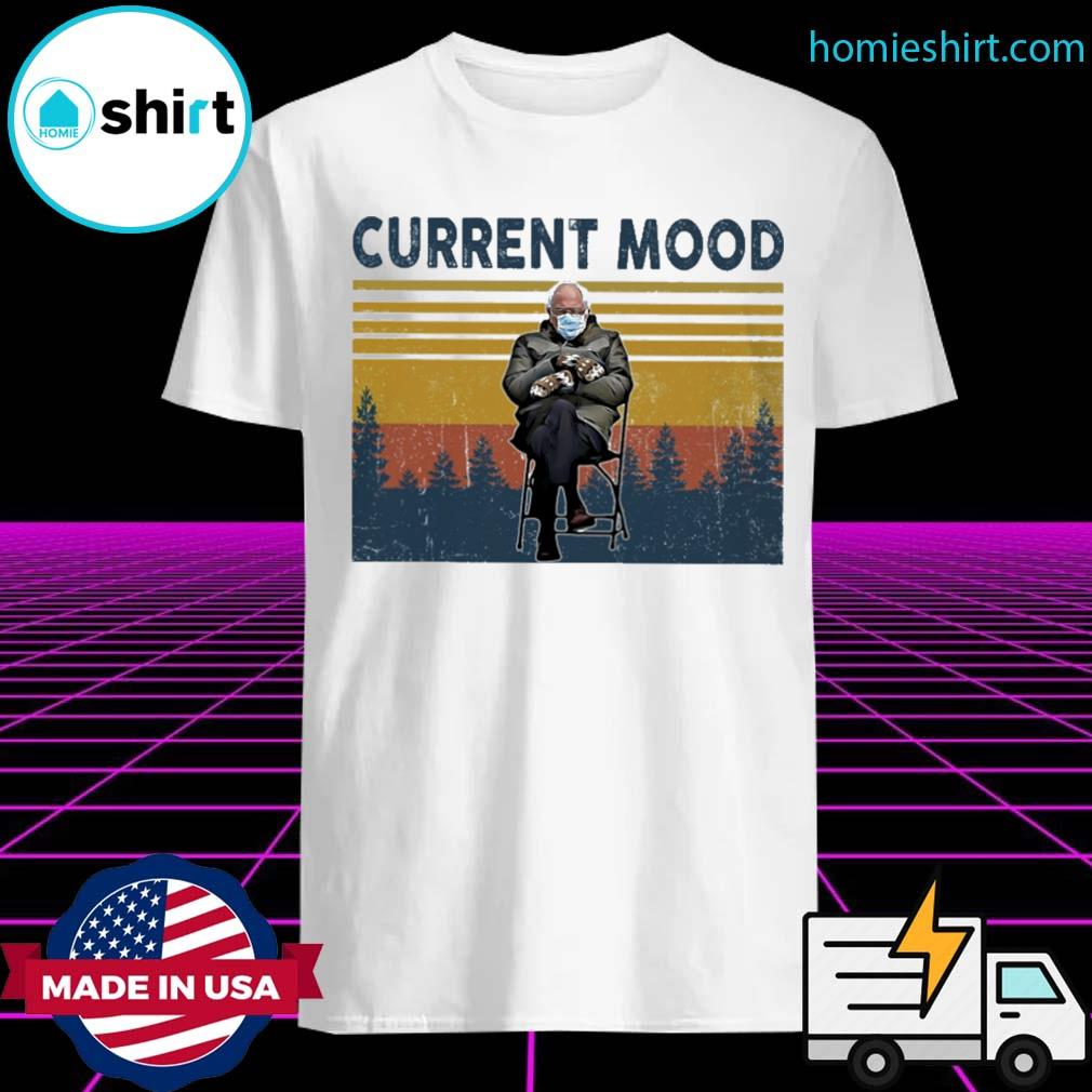 Bernie Sanders sits alone with his mittens at inauguration current mood vintage shirt