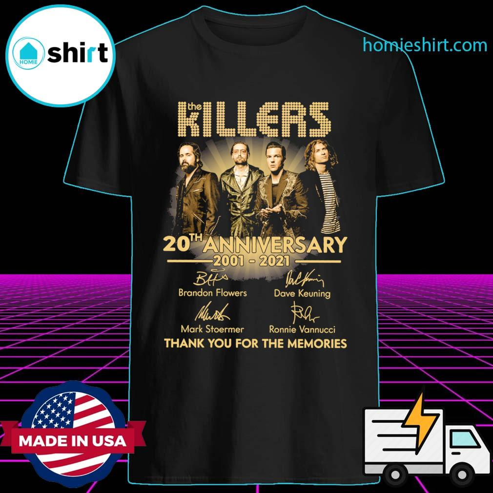 The Killers 20th anniversary 2001 2021 signatures thank you for the memories shirt